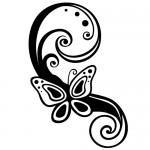 Sticker fluture floare WLF514